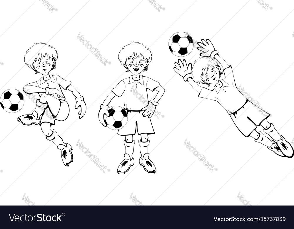 Boy soccer goalkeeper vector image