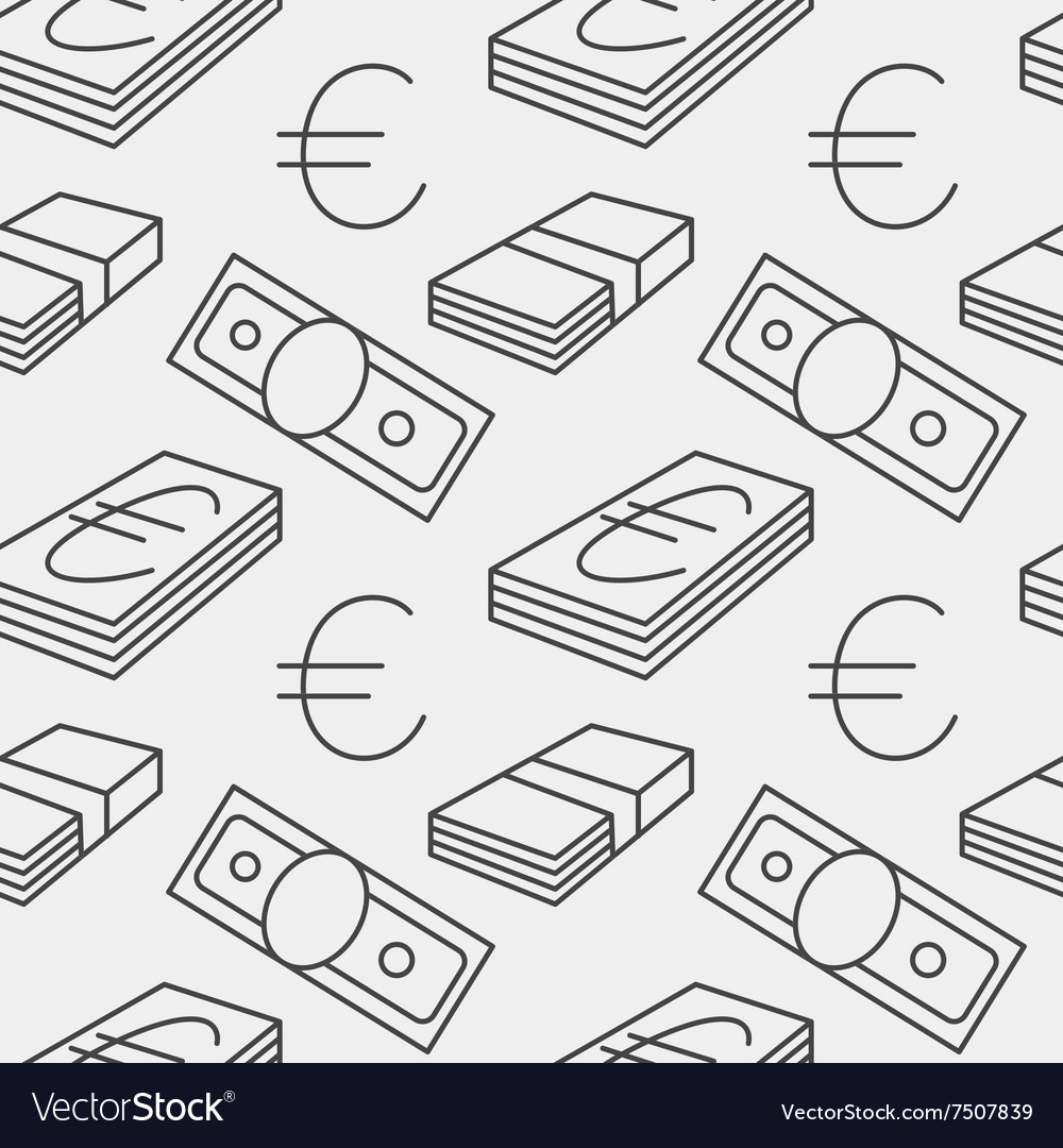 Euro currency seamless pattern Texture with EUR vector image