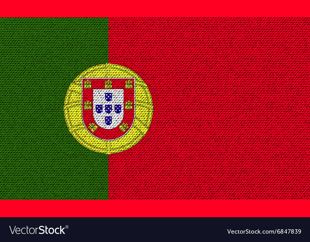 Flags Portugal on denim texture vector image