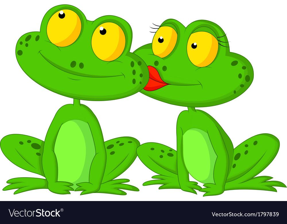 Frog cartoon kissing vector image