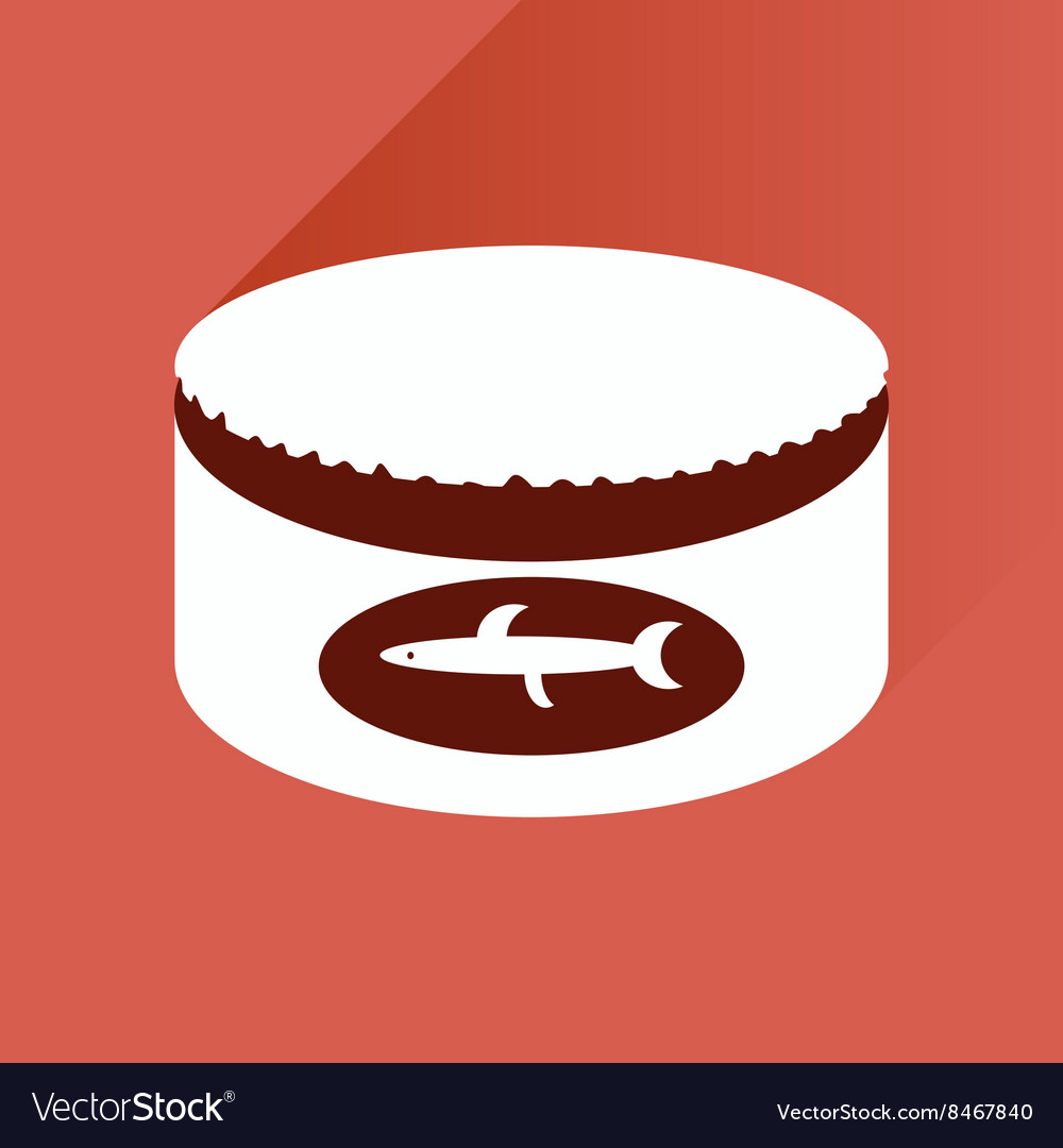 Flat with shadow Icon Canned fish on stylish