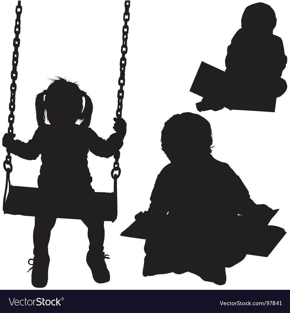 Child's silhouettes vector image
