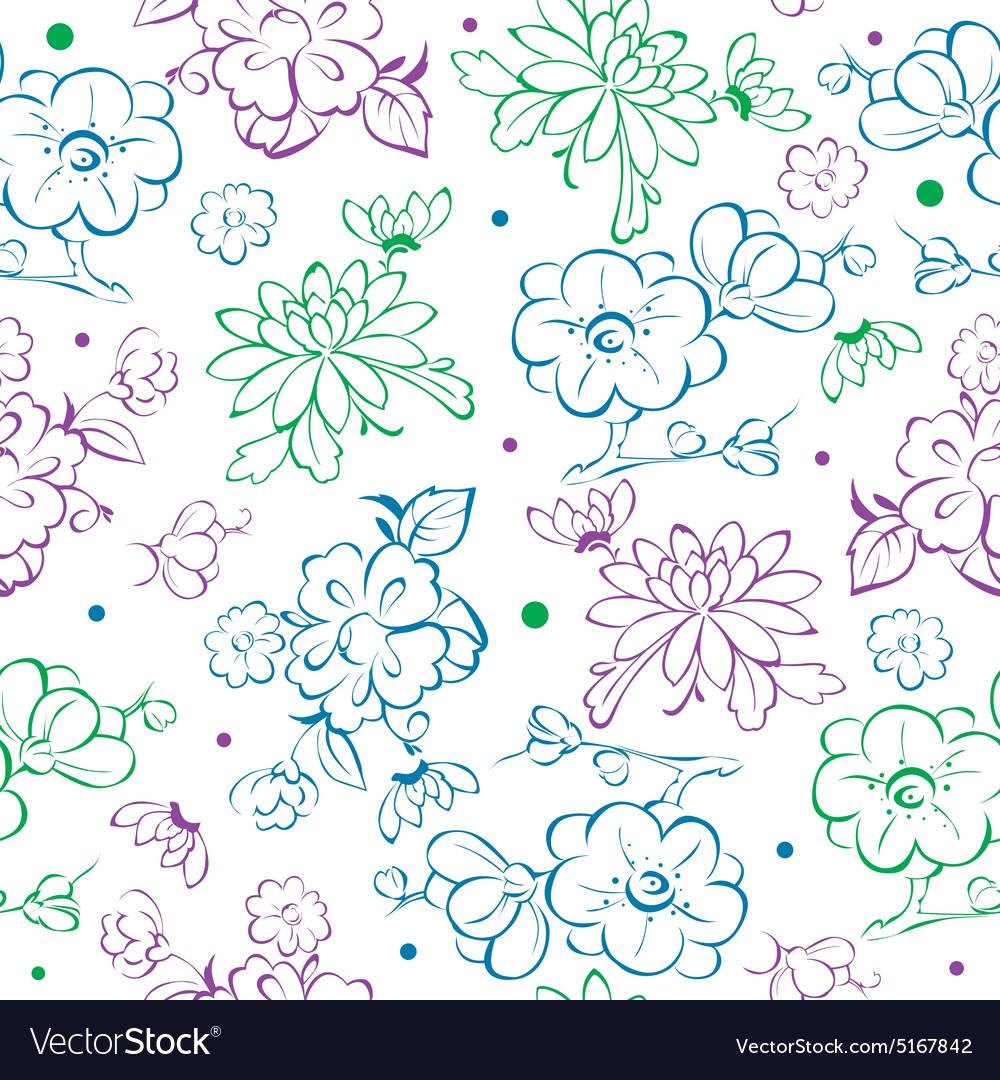 Blue Purple Green Kimono Flowers Drawing Vector Image