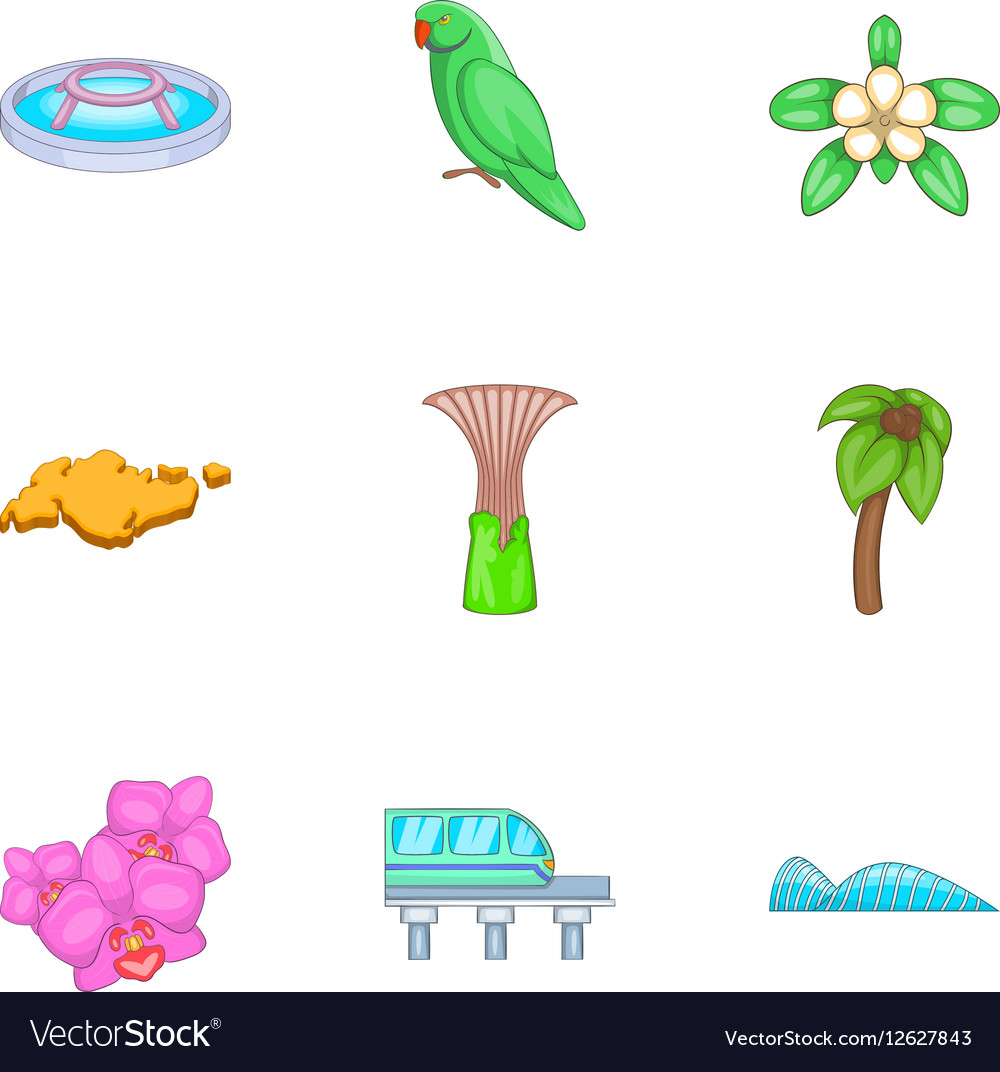 Singapore national cultural symbols icons set vector image biocorpaavc Images