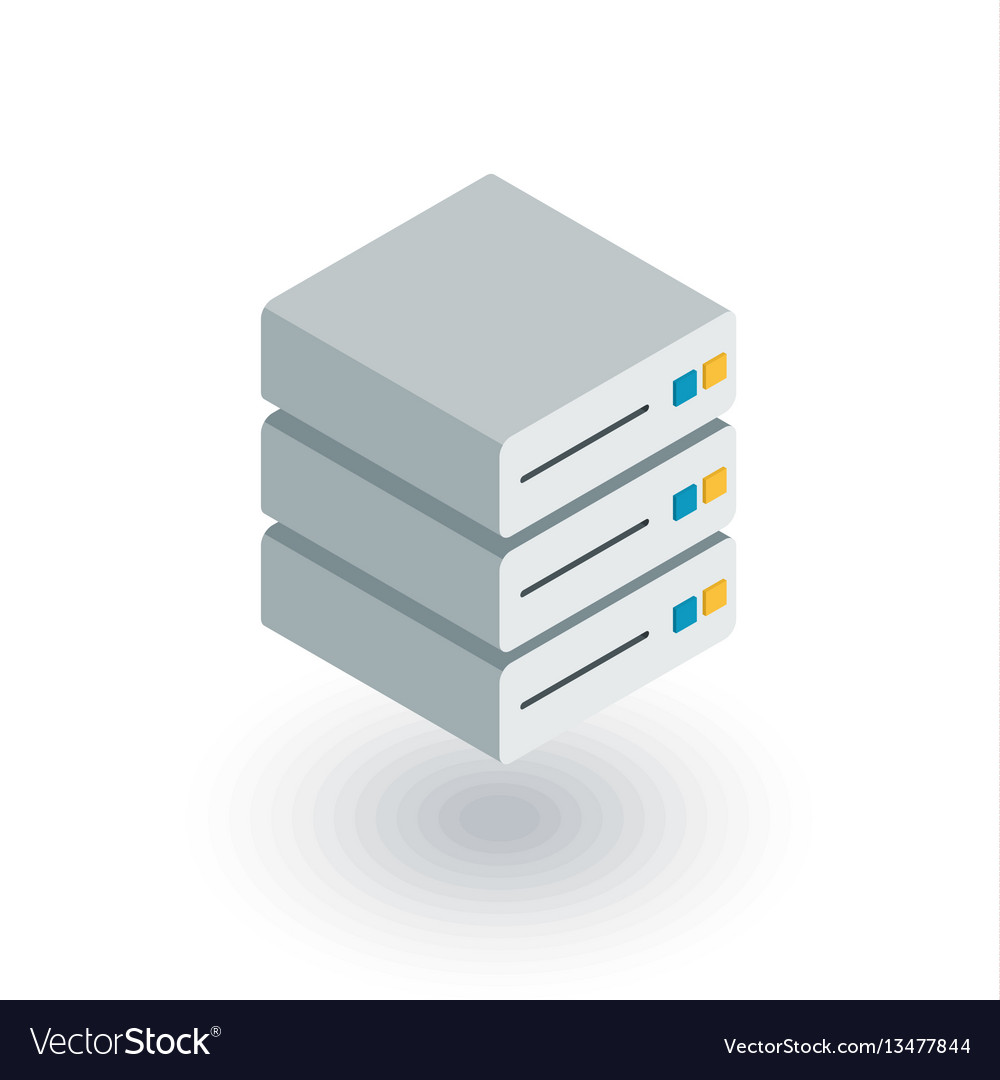 Data center server isometric flat icon 3d vector image