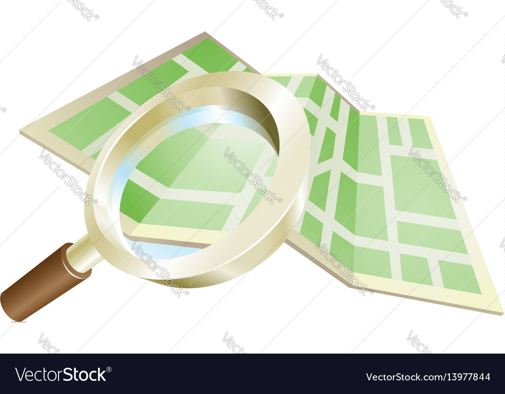 Magnifying glass map concept vector image