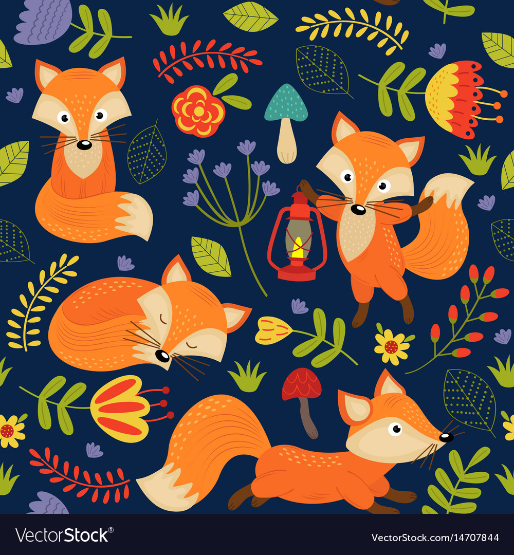 Seamless pattern fox on purple background vector image