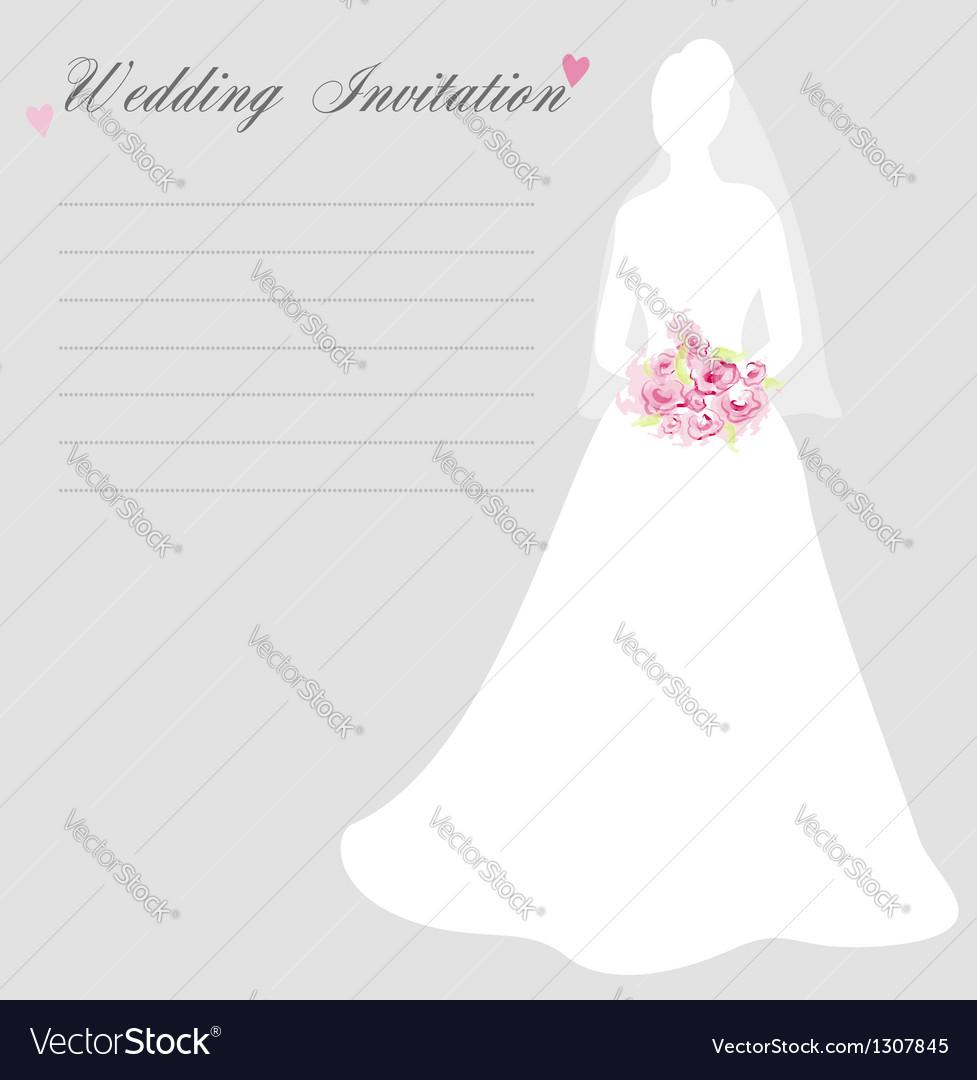 Wedding invitation with bride silhouette vector image