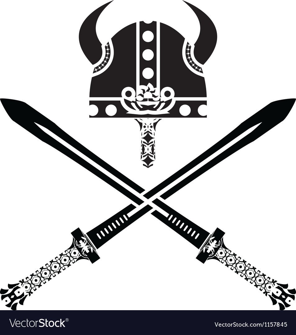 Viking helmet and swords vector image