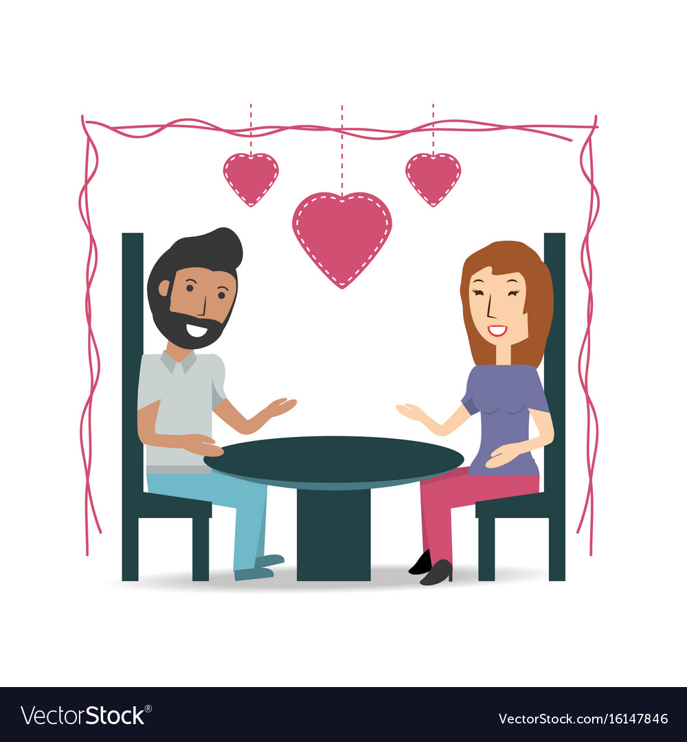 Couple lover and romantic relationship with hearts vector image