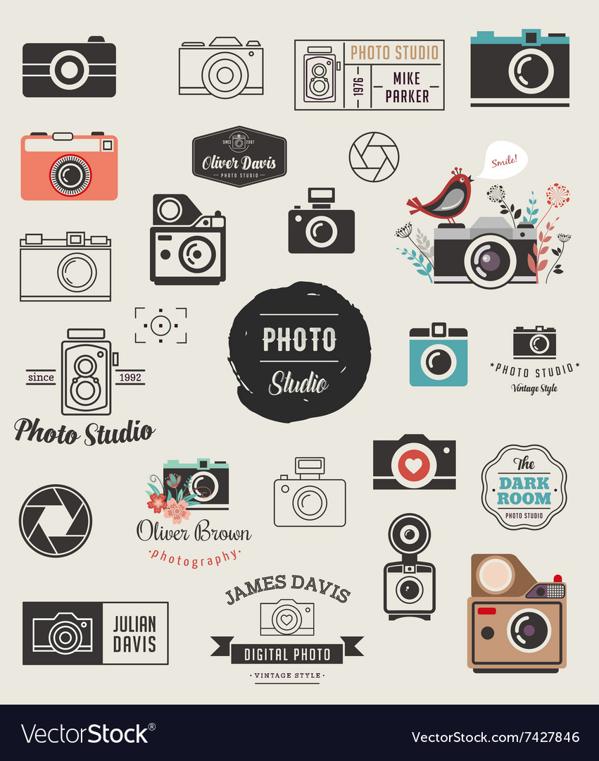 Photographer cameras photo studio icons set vector image