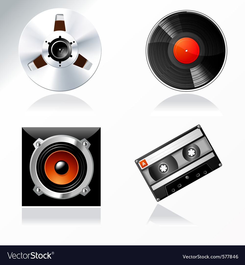 Sound mastering objects icon set vector image