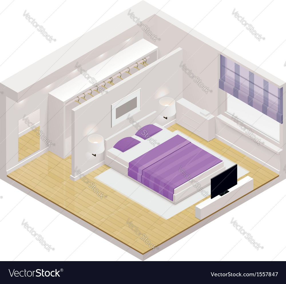 Isometric bedroom icon vector image