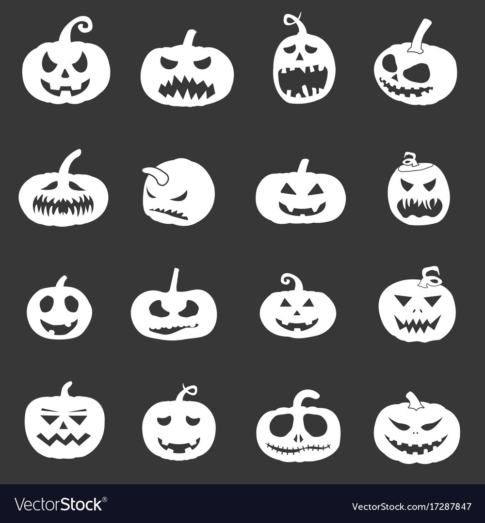 Pumpkin icons set for halloween vector image