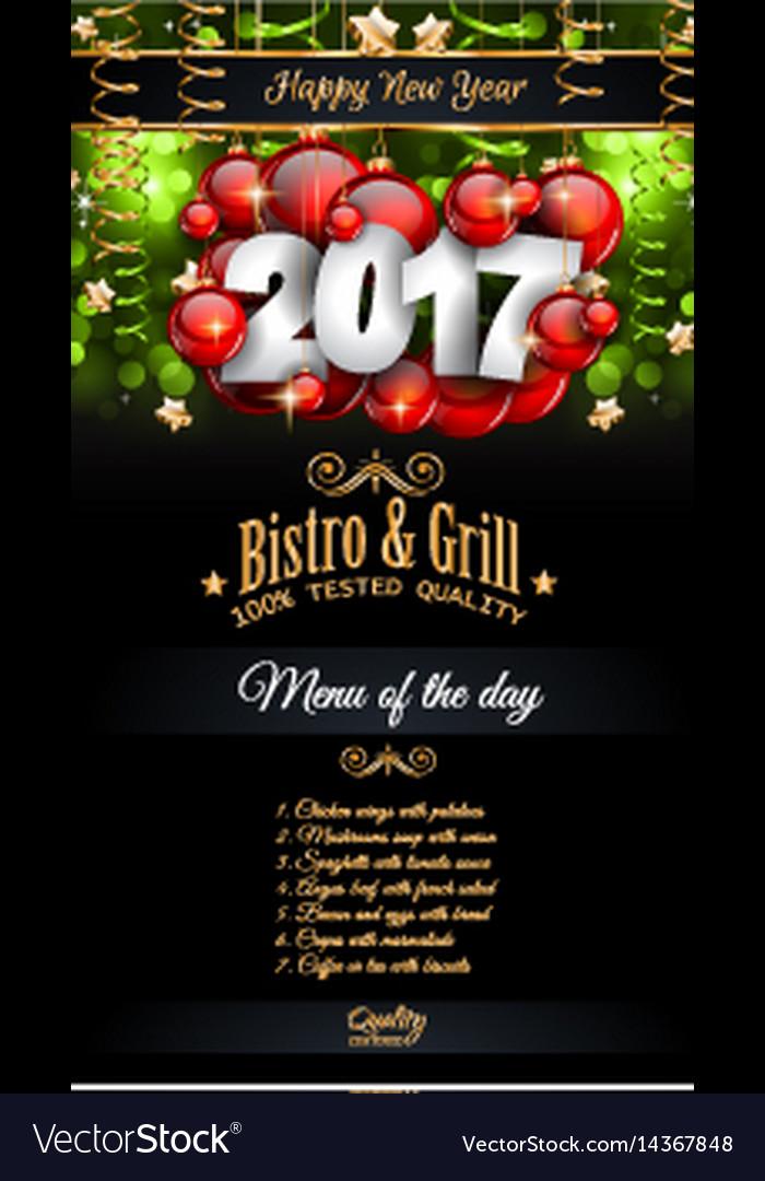 2017 happy new year restaurant menu template vector image