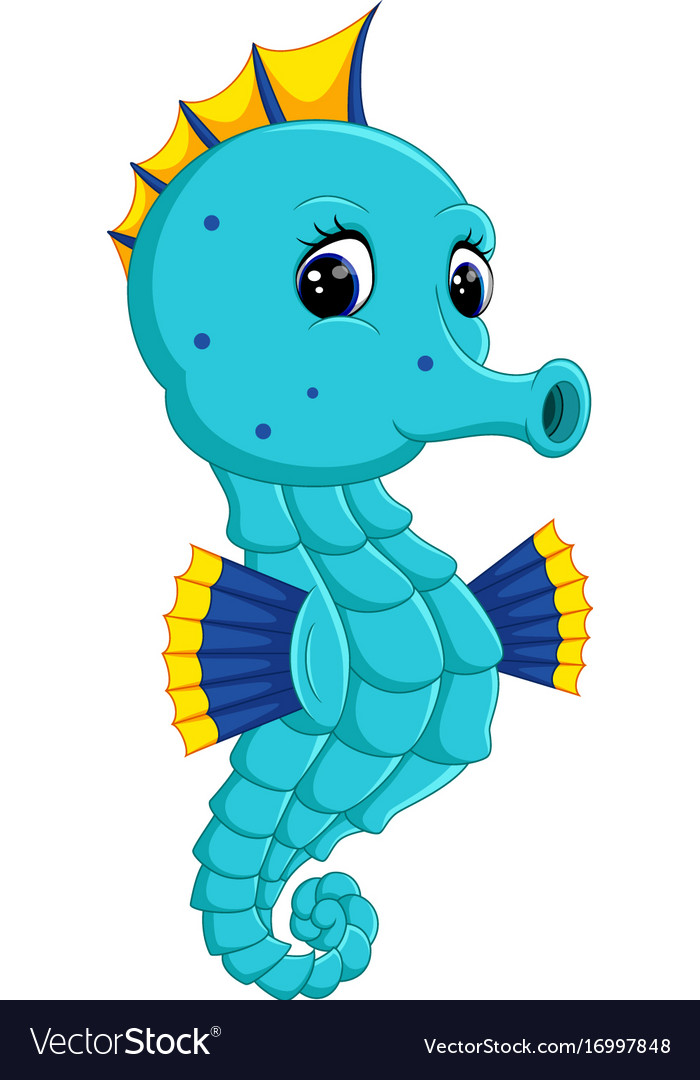 Cartoon watercolor seahorse vector image