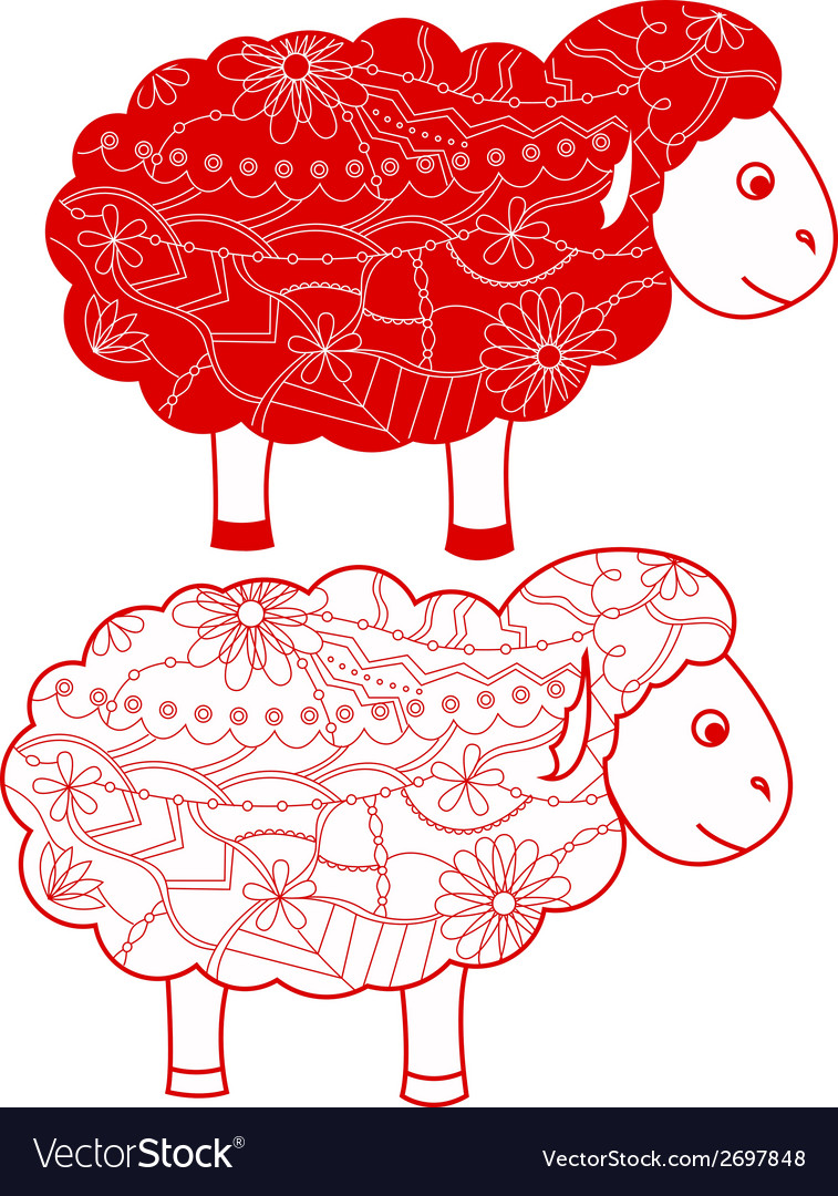 Red sheep vector image