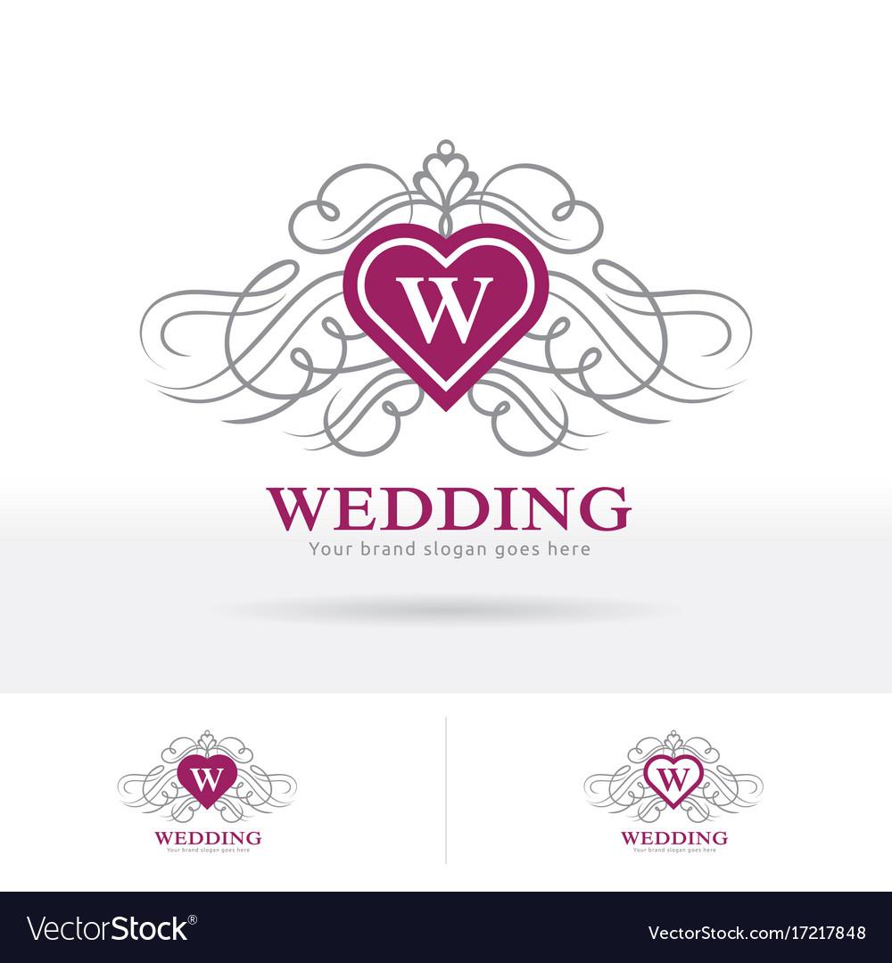 Wedding logo heart shape crest with decorative vector image wedding logo heart shape crest with decorative vector image junglespirit Image collections