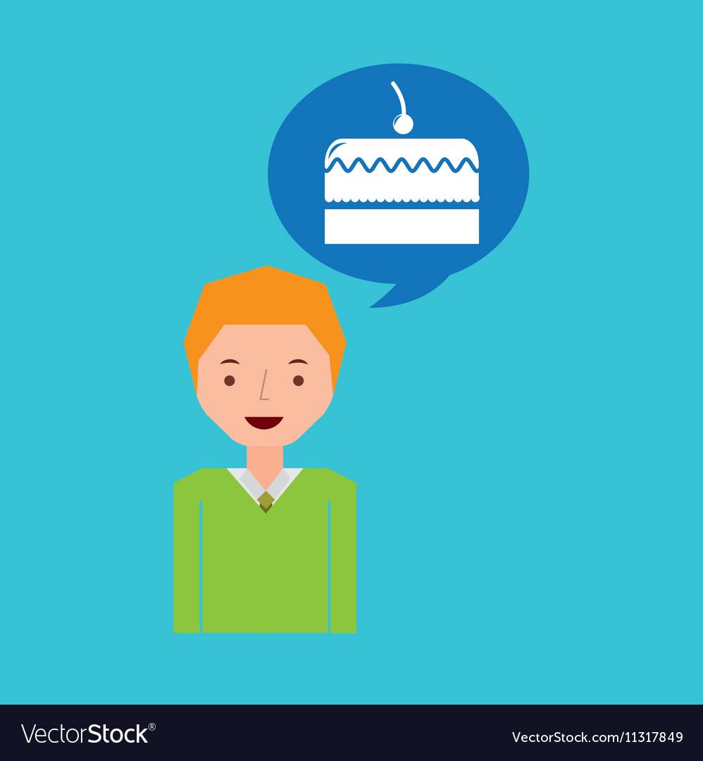 Cartoon man cake candle dessert design icon vector image