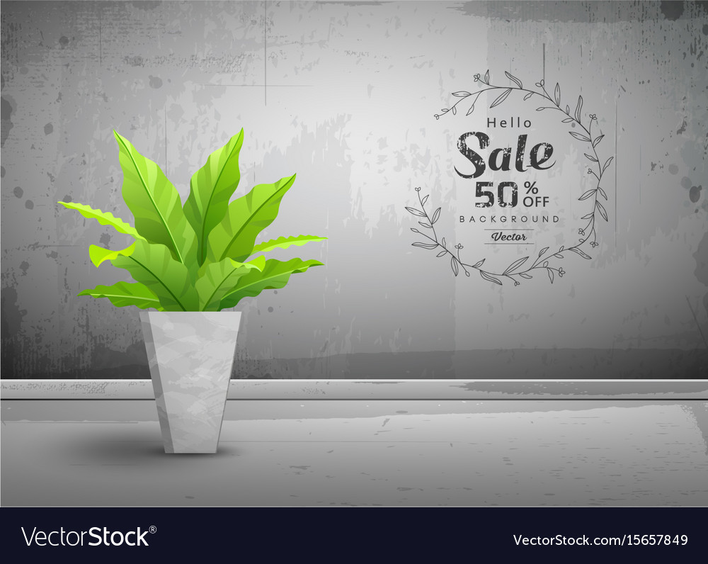 Cement loft interior with tropical tree vector image