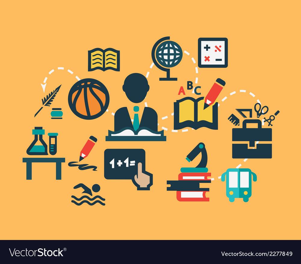 Flat education icons set vector image