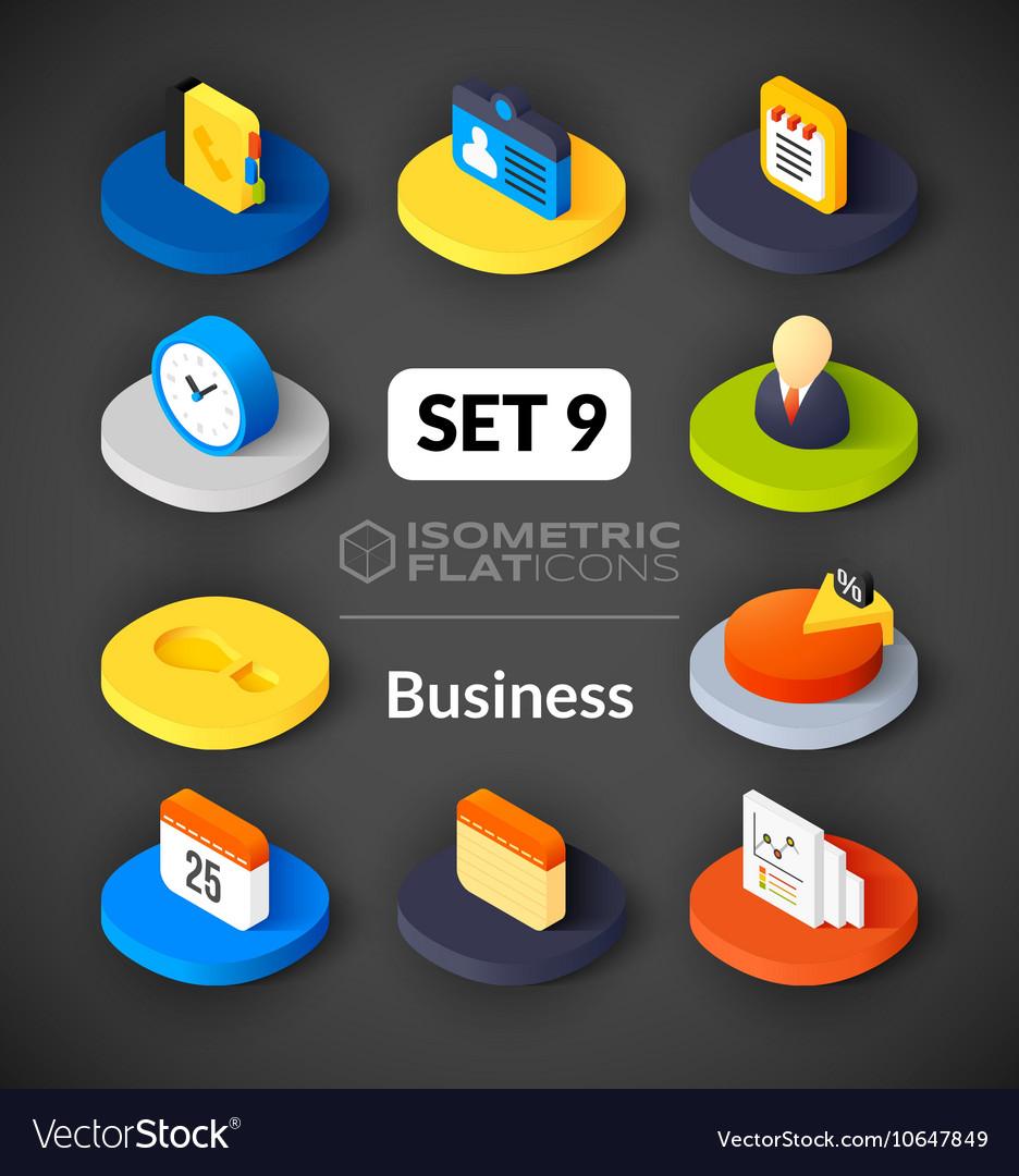 Isometric flat icons set 9 vector image