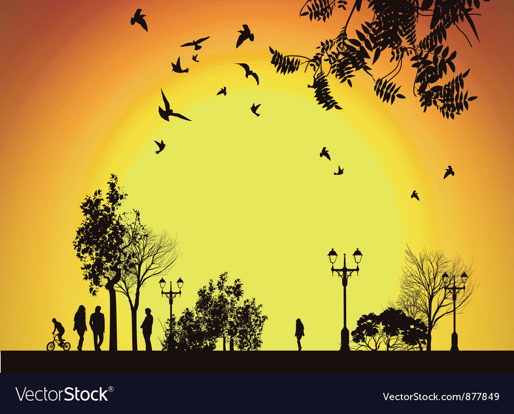People walking to work through city park vector image