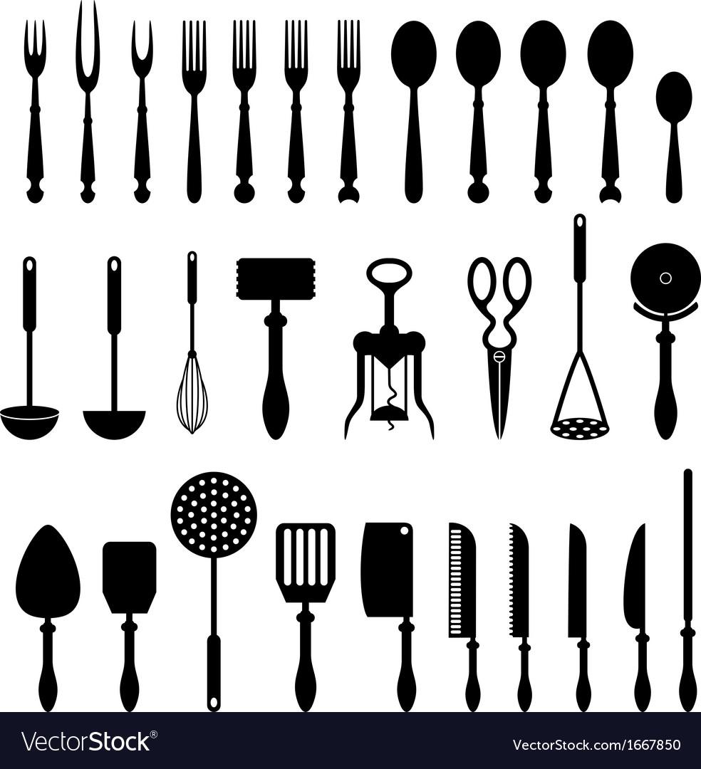 Kitchen Utensils Silhouette Vector Free kitchen utensil royalty free vector image - vectorstock