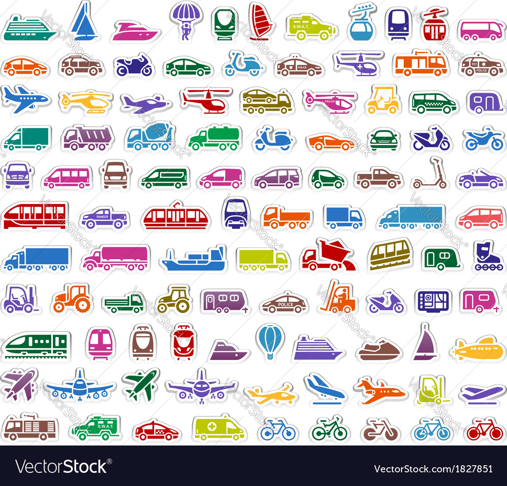 104 Transport icons set stickers vector image