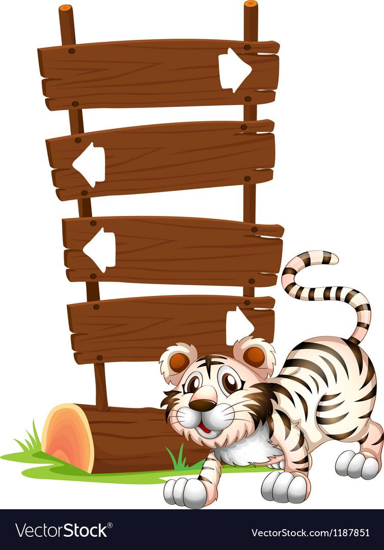 Cartoon Siberian Tiger Signboards vector image