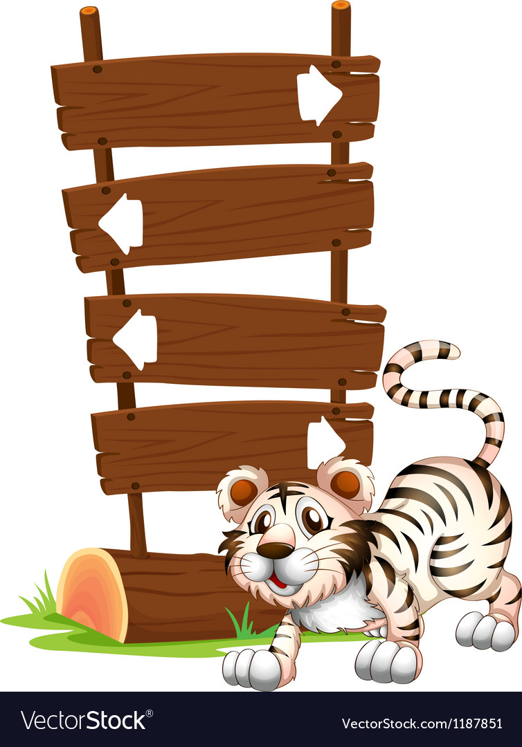 Cartoon Siberian Tiger Signboards vector image