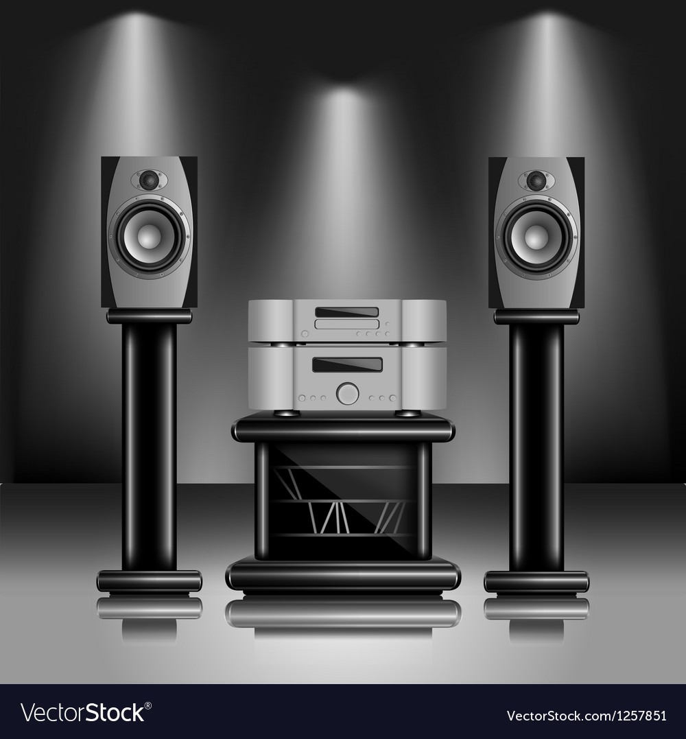 Hi-Fi audio sound system vector image