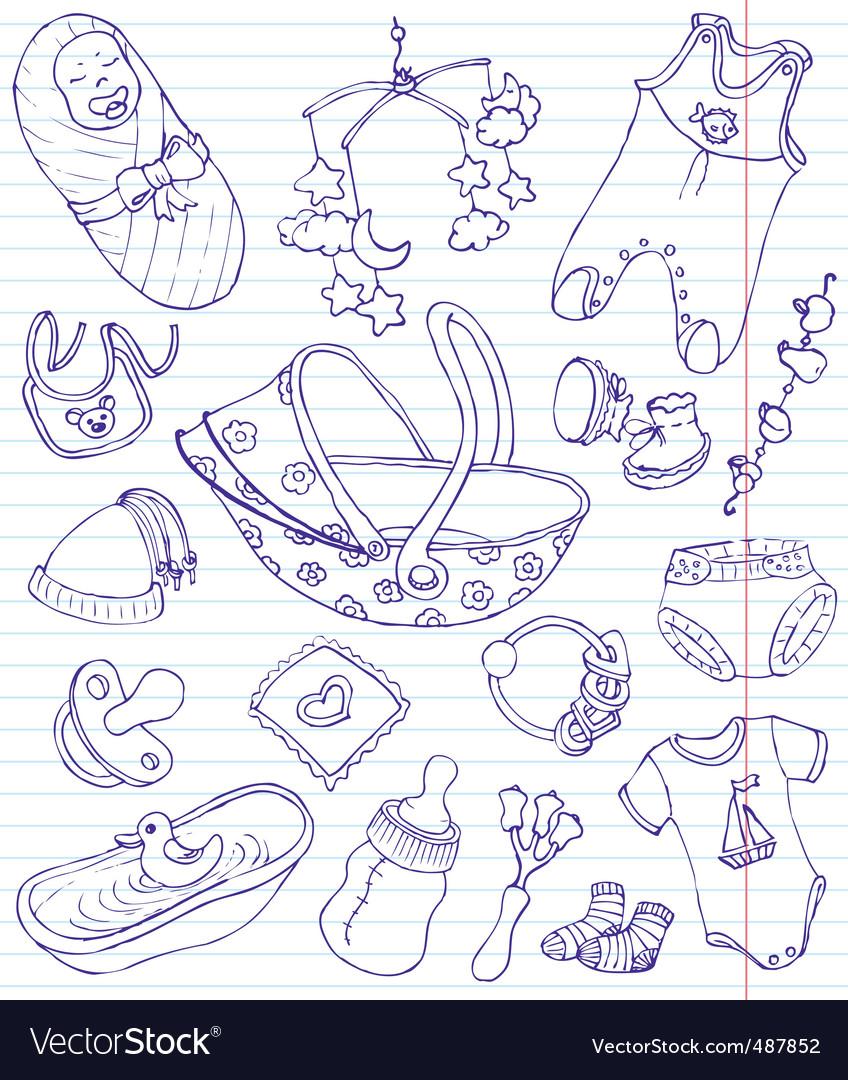 Baby doodles vector image