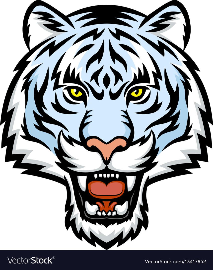 white tiger head logo royalty free vector image rh vectorstock com lsu new tiger head logo tiger head logo vector