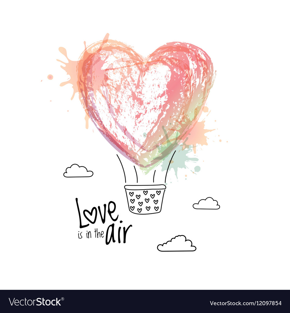 Flying air balloon in form of heart Greeting card vector image