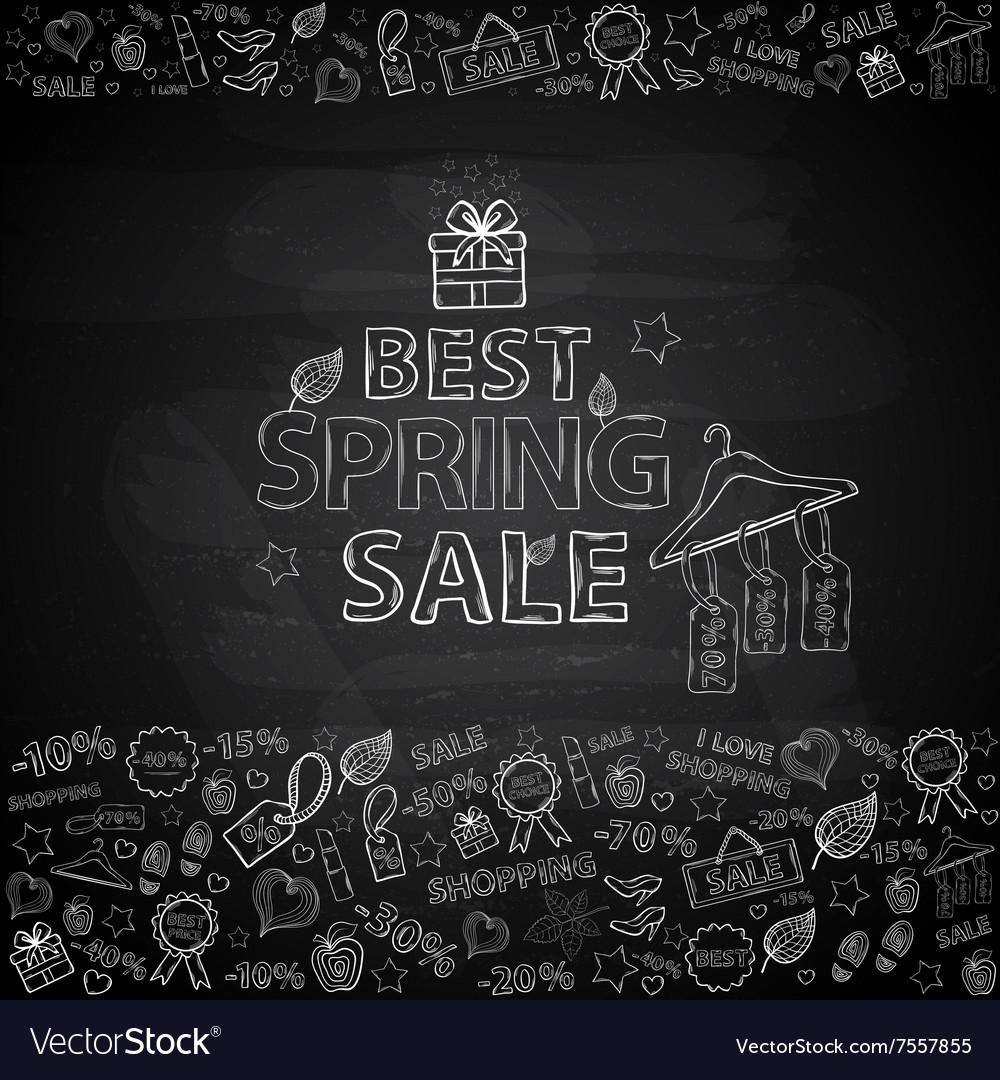 Chalk board Spring Sale vector image