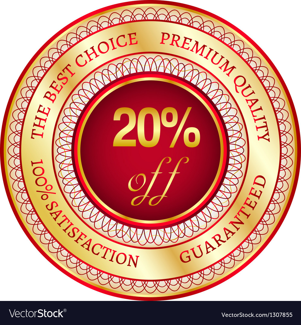 Label on 20 percent discount vector image