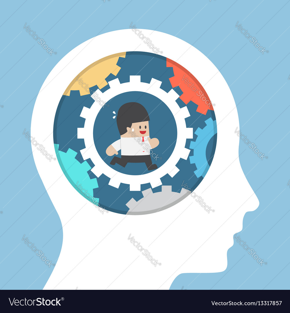 Businessman running in gear inside the head vector image