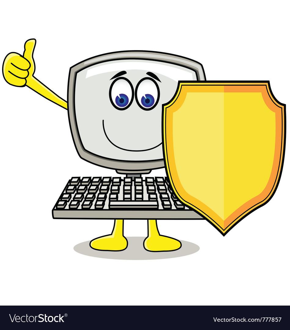 Cartoon computer with shield vector image