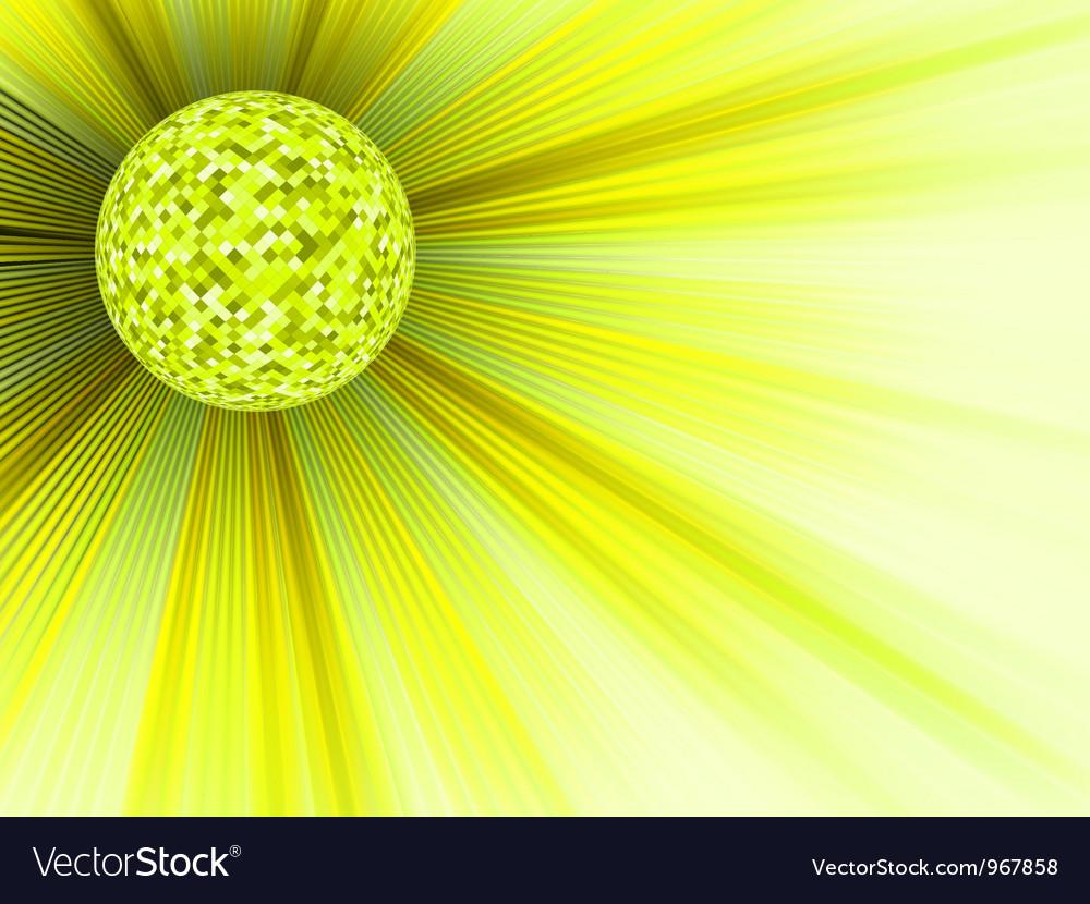 Yellow disco ball background vector image