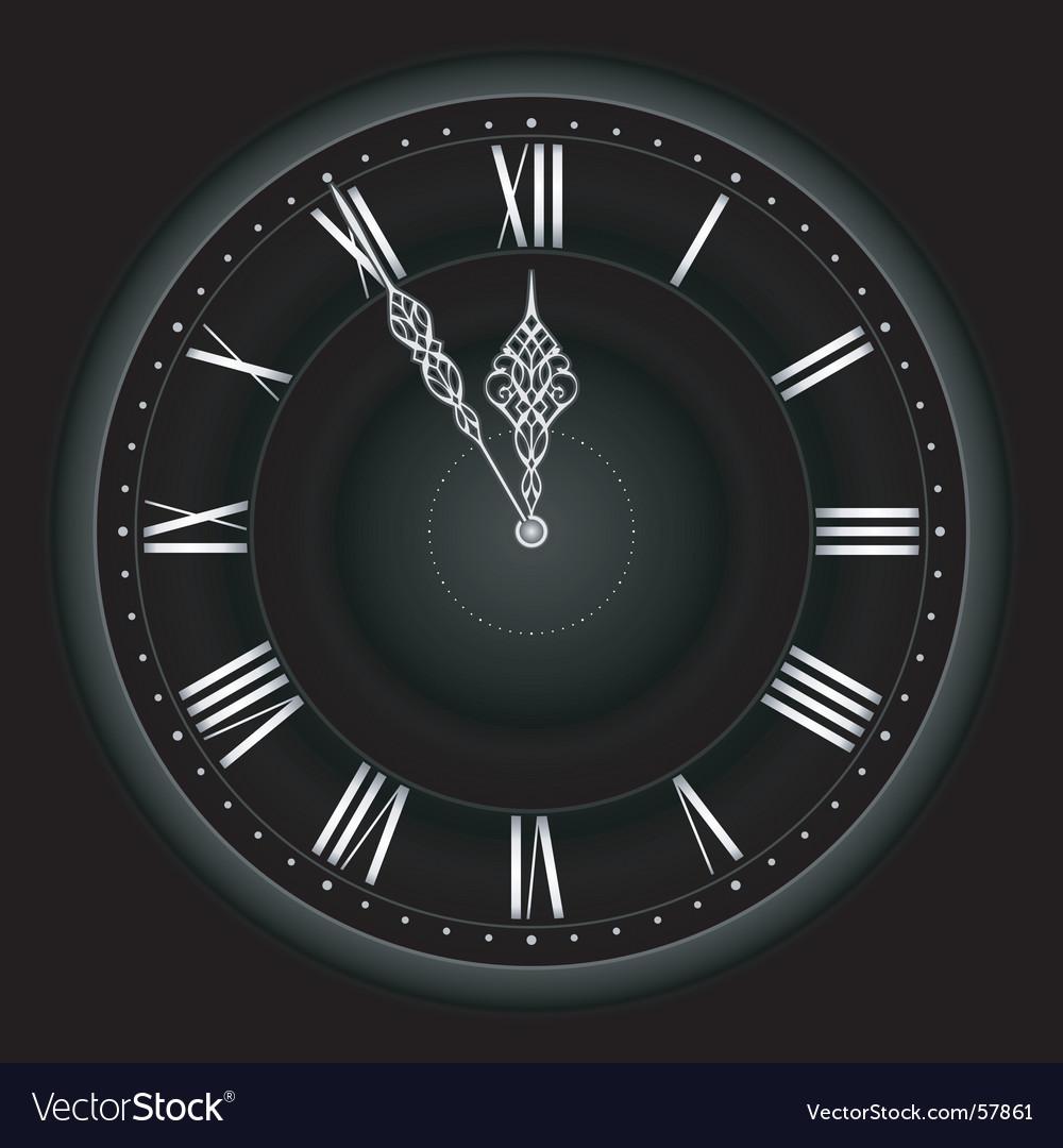 Stylish black silver clock vector image