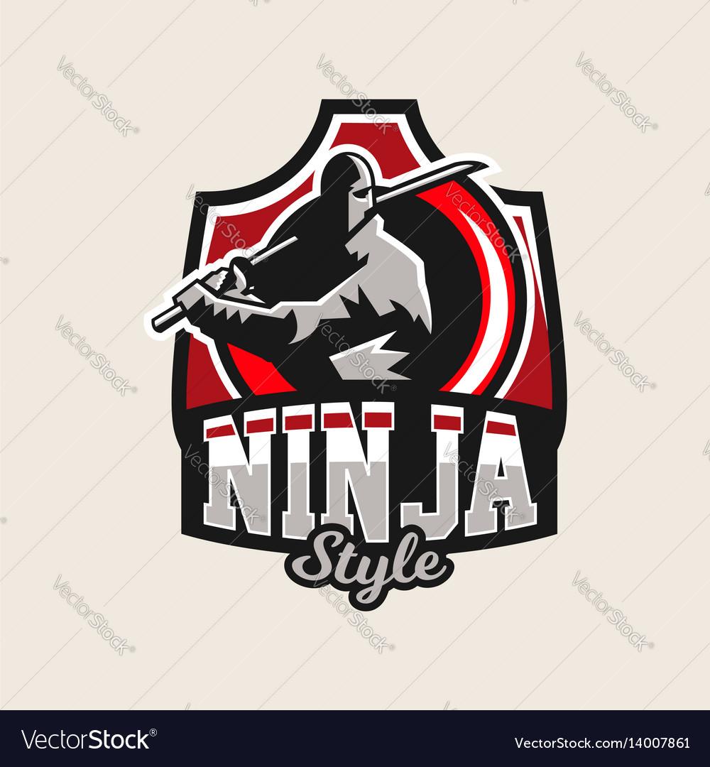Colorful logo emblem a ninja holding a katana in vector image
