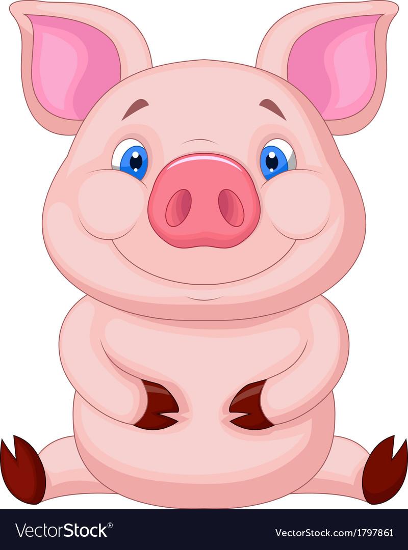 Cute baby pig cartoon sitting vector image