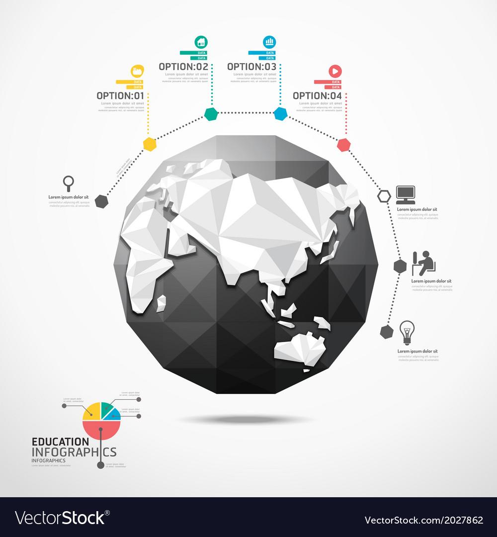 Globe world map infographics geometric concept vector image globe world map infographics geometric concept vector image gumiabroncs Images