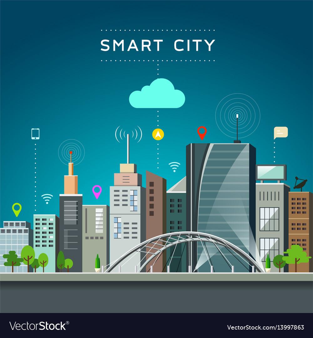 Modern building and landmark smart city vector image