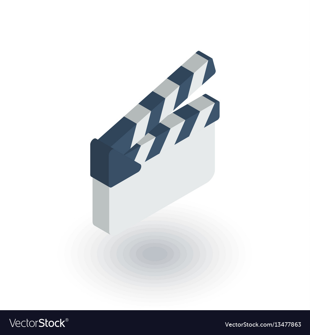 Movie clapperboard isometric flat icon 3d vector image