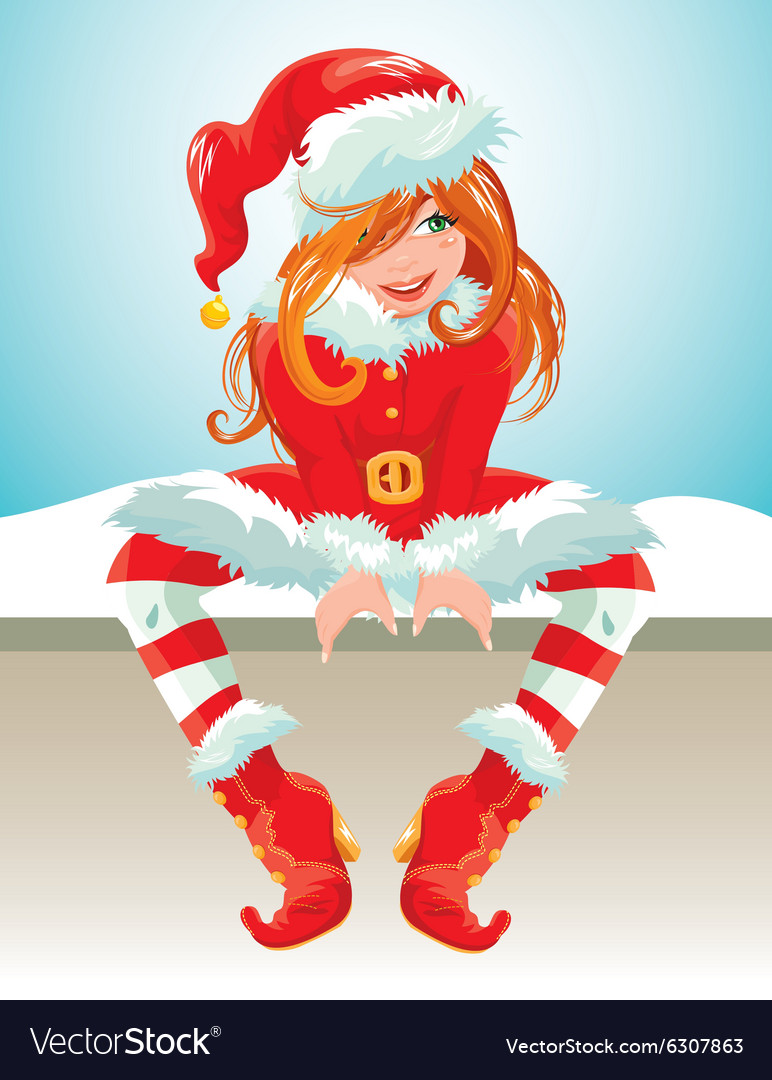 Xmas girl red 380 vector image