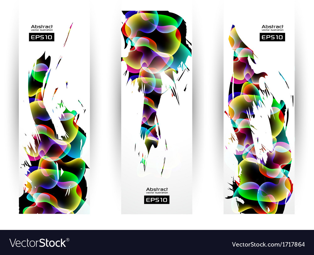 Colorful Modern Abstract Banner Set vector image