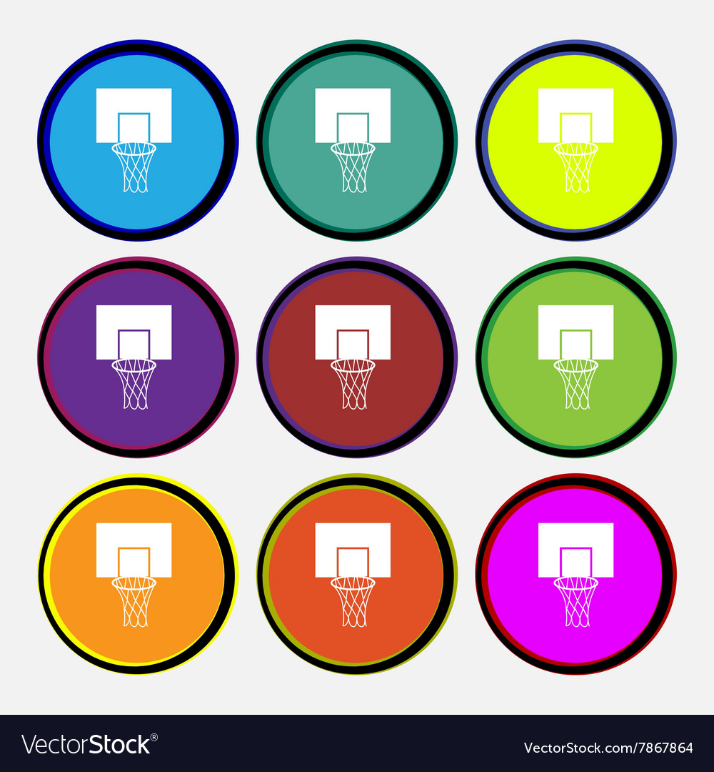Basketball backboard icon sign Nine multi colored vector image