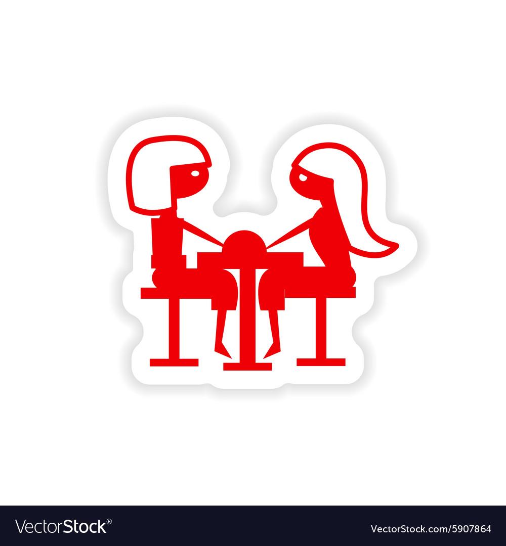 Icon sticker realistic design on paper girlfriend